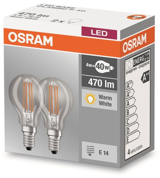 LED-Lampe OSRAM BASE CLASSIC P, E14, EEK: A++, 4 W, 470 lm, 2700 K, 2 Stück - Produktbild 2
