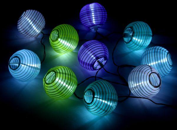 Solar-LED-Sommerlichterkette, Lampions, bunt - Produktbild 1