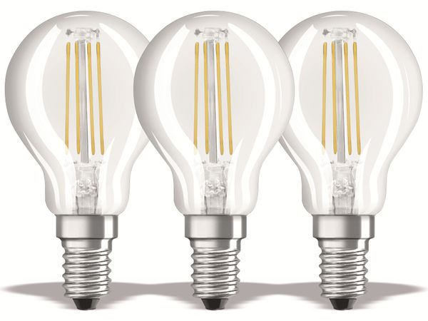 LED-Lampe OSRAM BASE CLASSIC P, E14, EEK: E, 4 W, 470 lm, 2700 K, 3 Stück