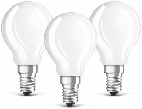 LED-Lampe OSRAM BASE P, E14, EEK: A++, 4W, 470 lm, 2700 K, 3 Stück - Produktbild 1