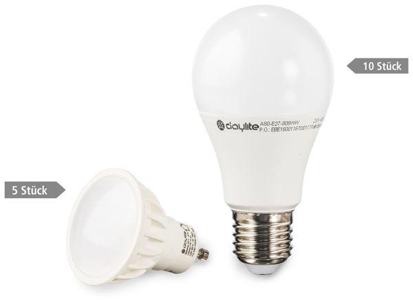 15er LED-Lampen-Set DAYLITE, EEK: A+, 10x A60-E27-806WW + 5x GU10-M390WW - Produktbild 1