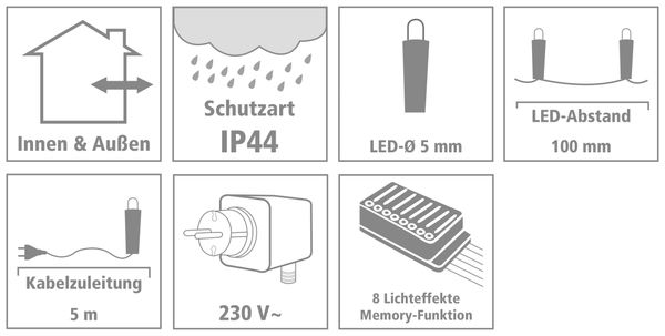 LED-Lichterkette, 180 LEDs, kaltweiß, 230V~, IP44, 8 Funktionen, Memory - Produktbild 3
