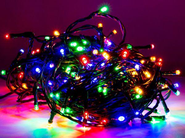 LED-Lichterkette, 320 LEDs, bunt, 230V~, IP44, 8 Funktionen, Memory