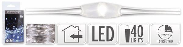 LED-Lichterkette, Silberdraht, 40 LEDs, kaltweiß, Batteriebetrieb, Timer - Produktbild 5