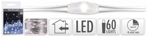 LED-Lichterkette, Silberdraht, 100 LEDs, kaltweiß, Batteriebetrieb, Timer - Produktbild 5