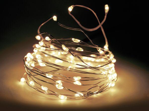 LED-Lichterkette, Silberdraht, 20 LEDs, warmweiß, Batteriebetrieb, Timer