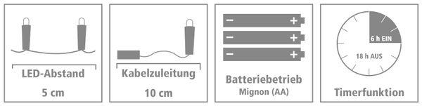 LED-Lichterkette, Silberdraht, 20 LEDs, warmweiß, Batteriebetrieb, Timer - Produktbild 4