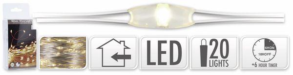 LED-Lichterkette, Silberdraht, 20 LEDs, warmweiß, Batteriebetrieb, Timer - Produktbild 5