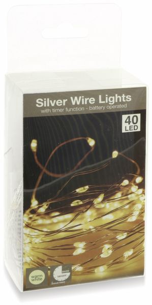 LED-Lichterkette, Silberdraht, 40 LEDs, warmweiß, Batteriebetrieb, Timer - Produktbild 4