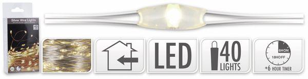 LED-Lichterkette, Silberdraht, 40 LEDs, warmweiß, Batteriebetrieb, Timer - Produktbild 5