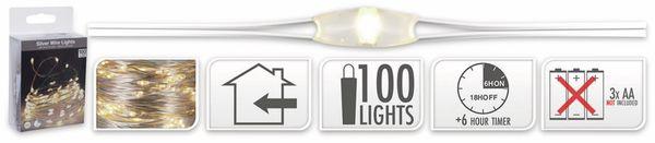 LED-Lichterkette, Silberdraht, 100 LEDs, warmweiß, Batteriebetrieb, Timer - Produktbild 5