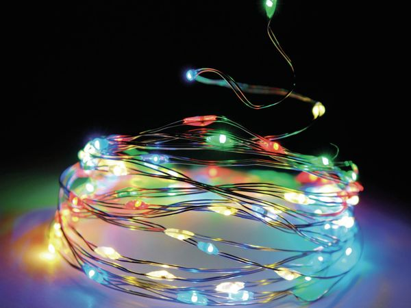 LED-Lichterkette, Silberdraht, 20 LEDs, bunt, Batteriebetrieb, Timer