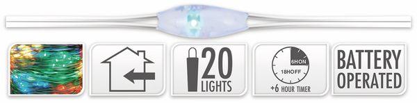 LED-Lichterkette, Silberdraht, 20 LEDs, bunt, Batteriebetrieb, Timer - Produktbild 5