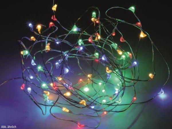 LED-Party Lichterkette, Silberdraht, 40 LEDs, bunt, Batteriebetrieb, Timer