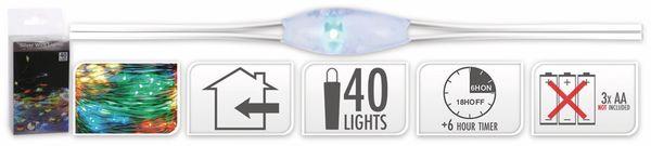 LED-Lichterkette, Silberdraht, 40 LEDs, bunt, Batteriebetrieb, Timer - Produktbild 5
