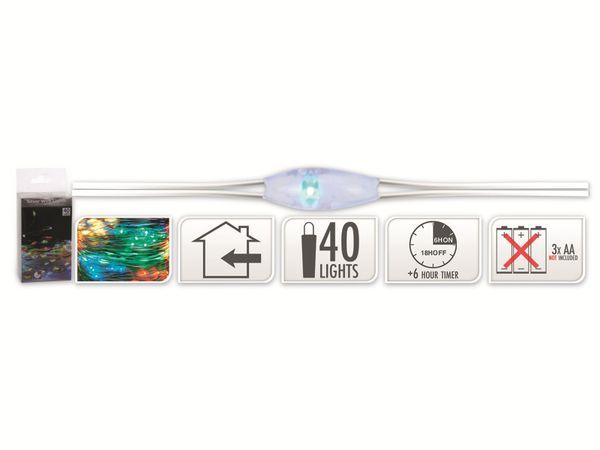 LED-Party Lichterkette, Silberdraht, 40 LEDs, bunt, Batteriebetrieb, Timer - Produktbild 5