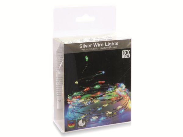 LED-Party Lichterkette, Silberdraht, 100 LEDs, bunt, Batteriebetrieb, Timer - Produktbild 4