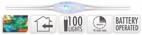 LED-Lichterkette, Silberdraht, 100 LEDs, bunt, Batteriebetrieb, Timer - Produktbild 5