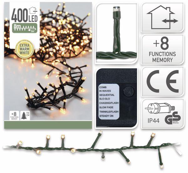 LED-Büschellichterkette Cluster, 400 LEDs, bernstein, 230V~, IP44, 11 m - Produktbild 2