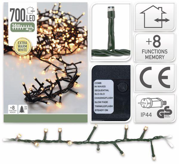 LED-Büschellichterkette Cluster, 700 LEDs, bernstein, 230V~, IP44, 17m - Produktbild 2