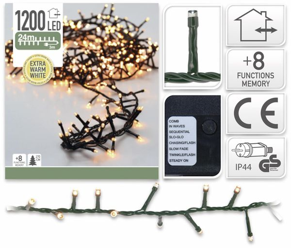 LED-Büschellichterkette Cluster, 1200 LEDs, bernstein, 230V~, IP44, 27 m - Produktbild 2