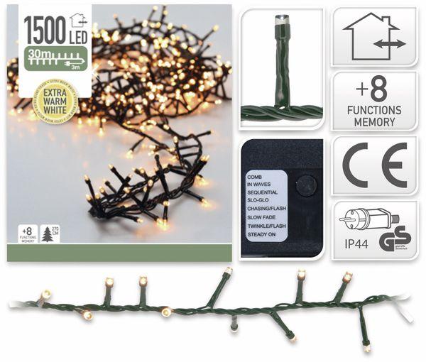 LED-Büschellichterkette Cluster, 1500 LEDs, bernstein, 230V~, IP44, 33 m - Produktbild 2