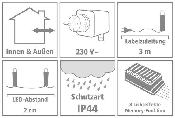 LED-Büschellichterkette Cluster, 1500 LEDs, bernstein, 230V~, IP44, 33 m - Produktbild 4
