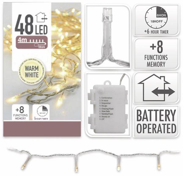 LED-Lichterkette, 48 LEDs, warmweiß, Batteriebetrieb, IP44, Timer, transp. - Produktbild 4