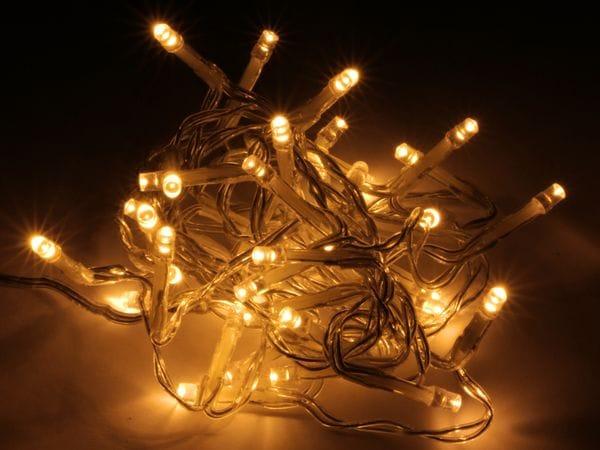 LED-Lichterkette, 96 LEDs, warmweiß, Batteriebetrieb, IP44, Timer, transp.