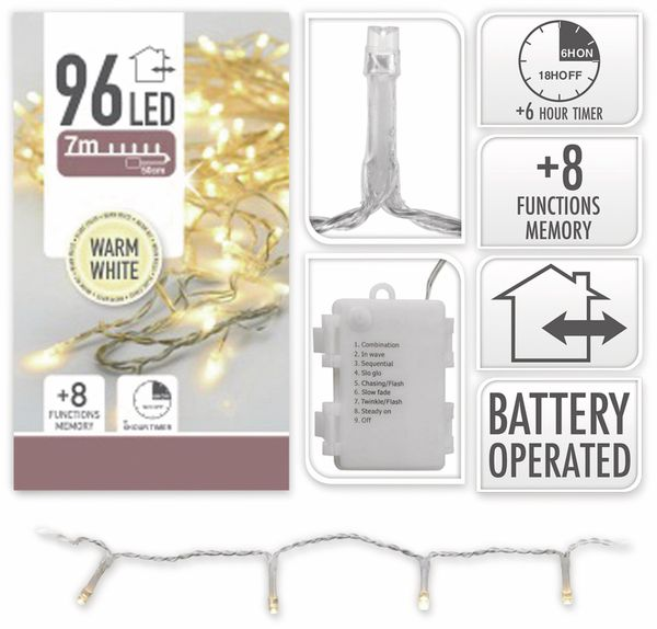 LED-Lichterkette, 96 LEDs, warmweiß, Batteriebetrieb, IP44, Timer, transp. - Produktbild 4