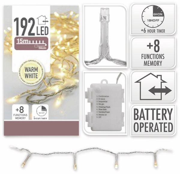 LED-Lichterkette, 192 LEDs, warmweiß, Batteriebetrieb, IP44, Timer, transp. - Produktbild 4