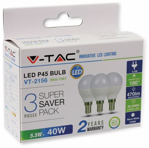 LED-Lampe VT-2156(7359), E14, EEK: A+, 5,5 W, 470 lm, 6400 K, 3 Stück - Produktbild 2