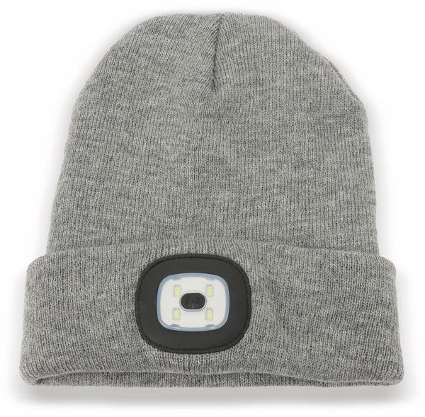 Beanie Mütze mit 4 LEDs 120lm, grau - Produktbild 1
