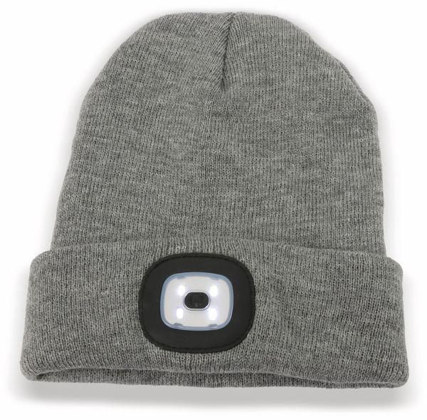 Beanie Mütze mit 4 LEDs 120lm, grau - Produktbild 2