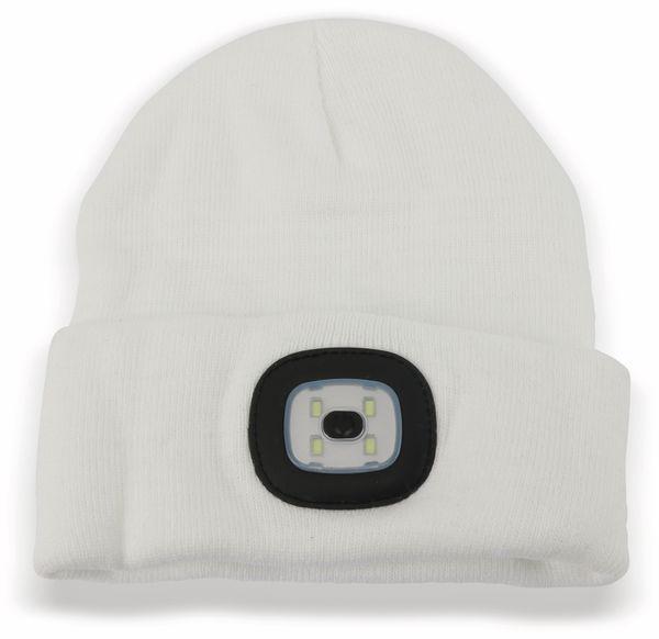 Beanie Mütze mit 4 LEDs, 120lm, weiß - Produktbild 1