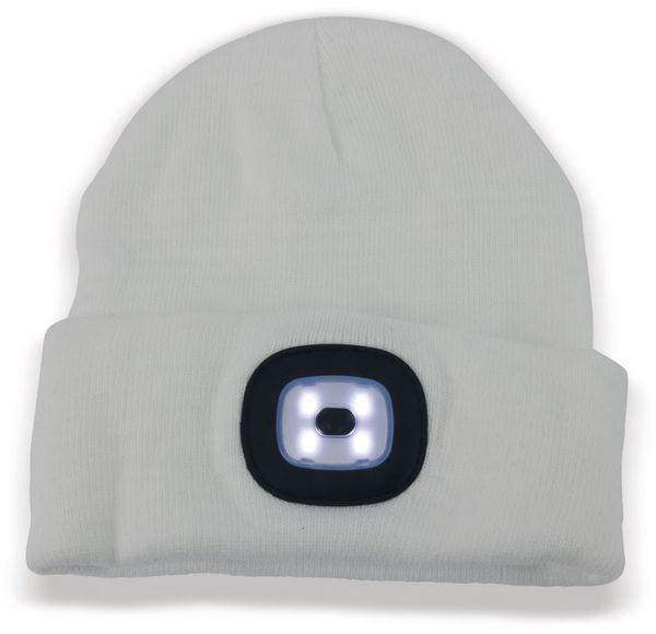Beanie Mütze mit 4 LEDs, 120lm, weiß - Produktbild 2