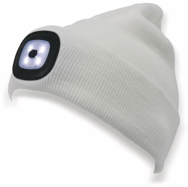 Beanie Mütze mit 4 LEDs, 120lm, weiß - Produktbild 3