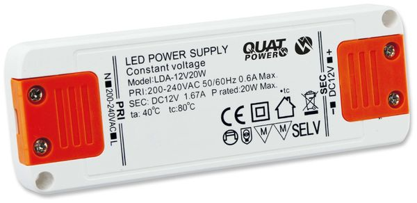 LED-Schaltnetzteil QUATPOWER LN 12V20W, 12 V-, 20 W