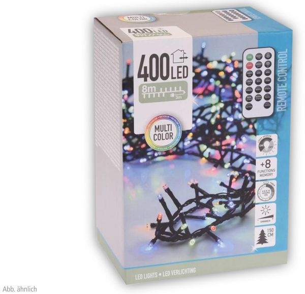 LED-Büschellichterkette, 400 LEDs, bunt, 230V~, IP44, 12 m, Timer, FB - Produktbild 3
