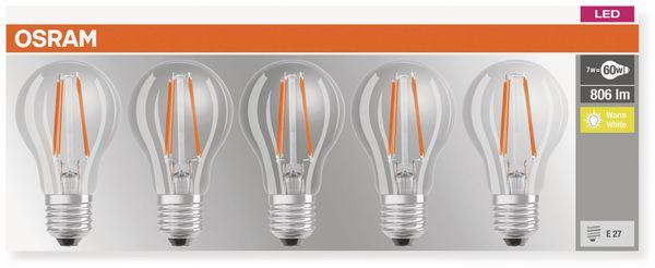 LED-Lampe OSRAM BASE CLASSIC A, E27, EEK: A++, 7 W, 806 lm, 2700 K, 5 Stk. - Produktbild 3