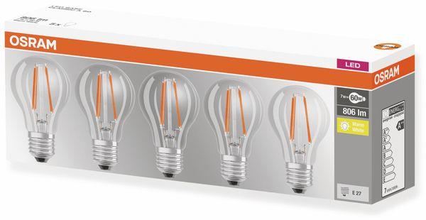 LED-Lampe OSRAM BASE CLASSIC A, E27, EEK: A++, 7 W, 806 lm, 2700 K, 5 Stk. - Produktbild 4