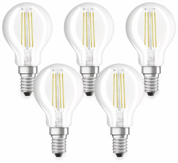 LED-Lampe OSRAM BASE CLASSIC P, E14, EEK: E, 4 W, 470 lm, 2700 K, 5 Stk.