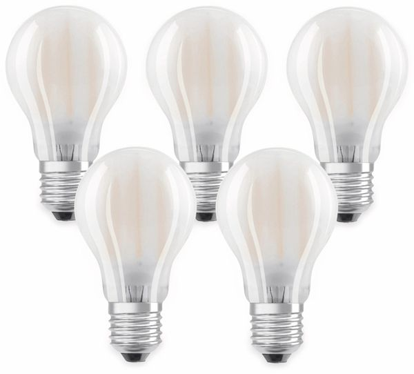 LED-Lampe OSRAM BASE CLAS A, E27, EEK: A++, 7W, 806 lm, 2700 K, 5 Stk. matt