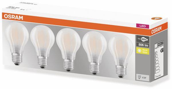 LED-Lampe OSRAM BASE CLAS A, E27, EEK: A++, 7W, 806 lm, 2700 K, 5 Stk. matt - Produktbild 4