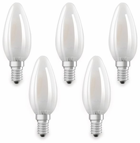LED-Lampe OSRAM BASE CLAS A, E14, EEK: E, 4W, 470 lm, 2700 K, 5 Stk. matt