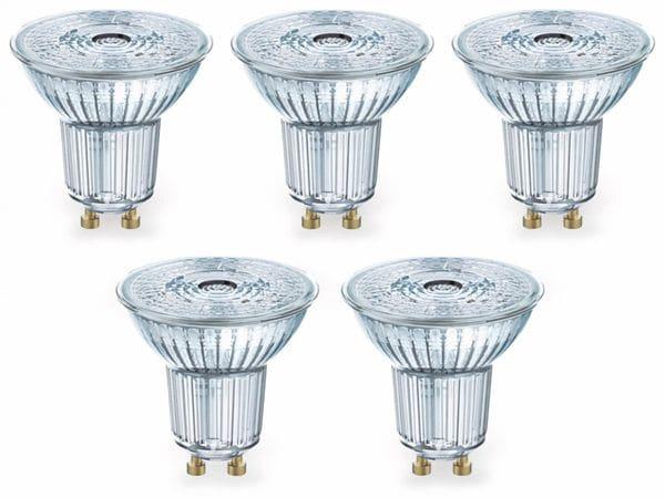 LED-Lampe OSRAM LED BASE PAR16, GU10, EEK F, 4,3 W, 350 lm, 2700 K, 5 Stk.