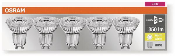 LED-Lampe OSRAM LED BASE PAR16, GU10, EEK F, 4,3 W, 350 lm, 2700 K, 5 Stk. - Produktbild 3