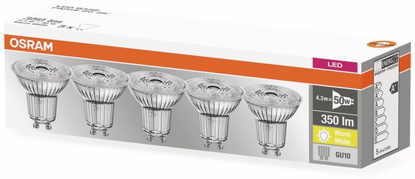 LED-Lampe OSRAM LED BASE PAR16, GU10, EEK A+, 4,3 W, 350 lm, 2700 K, 5 Stk. - Produktbild 4