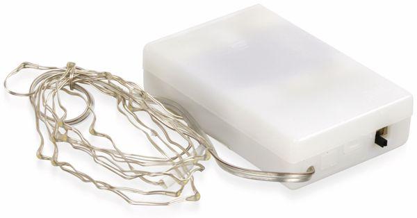 LED-Lichterkette, Silberdraht, 20 LEDs, kaltweiß, Batteriebetrieb, Timer - Produktbild 2