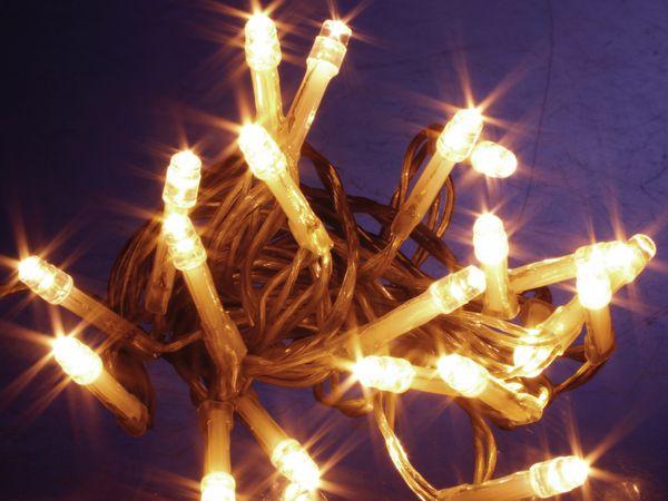 LED-Lichterkette, 20 LEDs, warmweiß, Batteriebetrieb, Timer - Produktbild 1